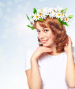 Free Beautiful Woman In A Wreath Of Flowers Royalty Free Stock Images - 27810249