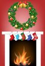 Free Fireplace, Socks And Garland Royalty Free Stock Photos - 27817708