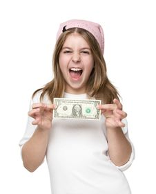 Free Happy Little Girl Showing Dollar Bill Stock Images - 27811774