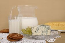 Milk, Cheese And Cookies Royalty Free Stock Photos