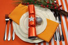 Orange Christmas Table Setting Royalty Free Stock Photos