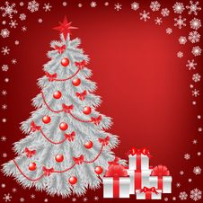Free White Christmas Tree With Gift Royalty Free Stock Photography - 27817607
