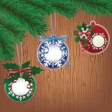 Free Paper Bauble, Wood Background Royalty Free Stock Image - 27817866