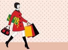 Woman With Shopping Bag And Gift Royalty Free Stock Photo