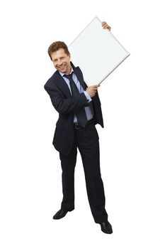 Free Business Man Holding Banner Royalty Free Stock Photography - 27819927
