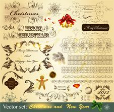 Collection Of Christmas Calligraphic Stock Image