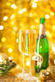 Two Glassesof Champagne With A Christmas Decor Stock Image