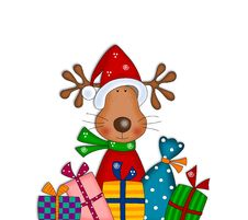 Reindeer With Gifts. Cartoon Characters. Stock Photo