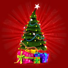 Free Christmas Tree With Gifts Stock Photography - 27829472