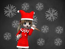 Free Snowflakes On Chalkboard And Girl Stock Photography - 27829502