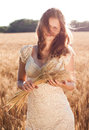 Free Girl With Freckles In A Wheat Field Stock Images - 27830554