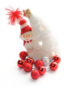 Snowman And Baubles Royalty Free Stock Photo