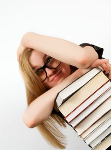 Free Portrait Of Woman With Stack Of Books Royalty Free Stock Photography - 27830227
