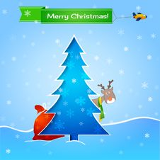 Free Vector Blue Christmas Card Royalty Free Stock Images - 27831019