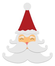 Santa Claus Smile Isolated On White Background Stock Image