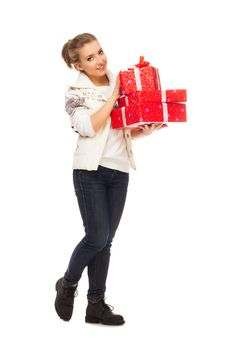 Young Woman Gives Gift Red Box With Bow Royalty Free Stock Image