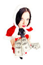 Free Girl Dressed As Santa With Money Royalty Free Stock Photography - 27848147