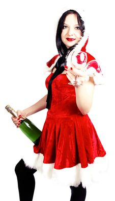 Free Girl With Champagne And Glasses In Christmas Royalty Free Stock Photos - 27848008