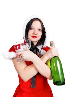 Free Girl Celebrates Christmas With Champagne Royalty Free Stock Image - 27848066