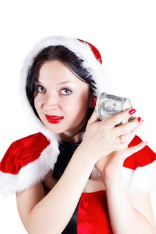 Free Girl With Money In Santa Suit Royalty Free Stock Image - 27848126