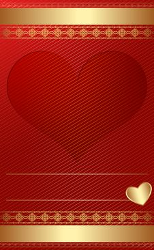 Free Golden Vintage Template With Heart. Royalty Free Stock Photography - 27848997