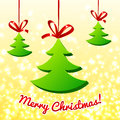 Free Plastic Christmas Trees With Red Ribbons Stock Image - 27851041