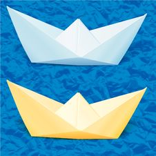 Free Paper Boats In The Blue Paper Sea Royalty Free Stock Photos - 27851178