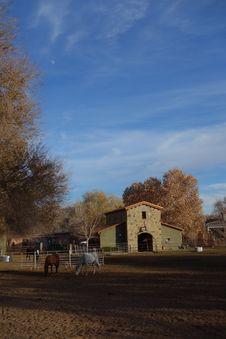 Pastoral Barn Horses Blue Sky Moon Royalty Free Stock Photos