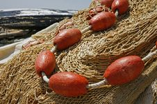 Fishing Nets On The Waterfront After Fishing Day Royalty Free Stock Image