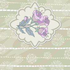 Free Vintage Card With Mauve Flower Stock Photography - 27854182