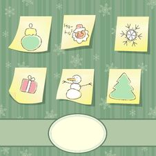 Free Christmas Card With Stickers Royalty Free Stock Photos - 27854288