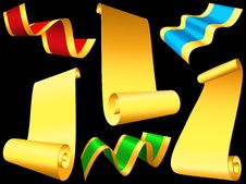 Free Set Shiny Ribbons And Paper Scrolls Stock Photos - 27854593