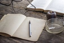 Free Books And Candle On Wooden Table Royalty Free Stock Photos - 27855928