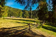 Free Long Wooden Fence Along The Carpathian Meadows Stock Image - 27856931