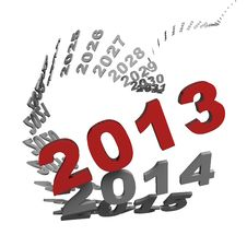Free 2013 New Year In Front Of Spiral Of Time. Royalty Free Stock Images - 27856969