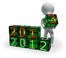 Free New Year 2013 On Green Cubes Stock Photos - 27856973