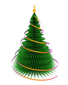 Free Christmas Fir Tree.  On White Stock Images - 27856974