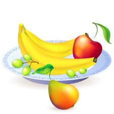 Free Plate Of Fruits, Vector Illustration Royalty Free Stock Photos - 27857908