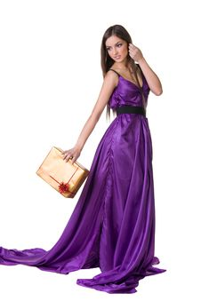 Free Girl In Violet Dress, Holding Gift Box Royalty Free Stock Photos - 27858148