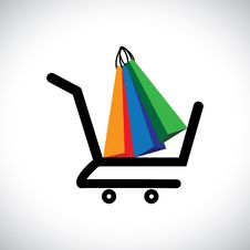 Free Concept Illustration - Online Shopping Cart & Bags Stock Photo - 27859530