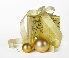 Gifts Box With Christmas Balls Isolated On White Stock Photography