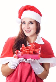 Free Young Happy Girl In Christmas Hat. Royalty Free Stock Photos - 27869868