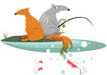 Free Fox And Wolf Are Fishing Stock Image - 27870531