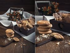 Sweet Wafer Sticks And Chocolate Drops. Royalty Free Stock Images