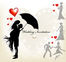 Free Design Of Wedding Invitation With Silhouette Royalty Free Stock Images - 27879859