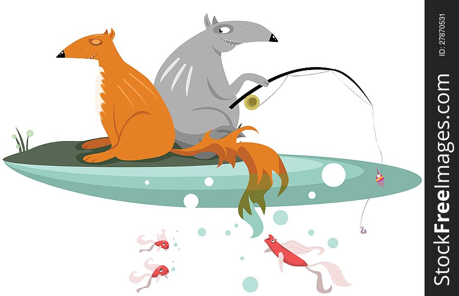Fox and Wolf are fishing