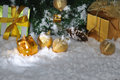 Free Golden Christmas On Snow Royalty Free Stock Image - 27882836