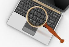 Free Laptop And Magnifying Glass. Royalty Free Stock Image - 27880816