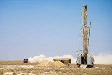 The Drilling Rig In The Steppe Stock Images