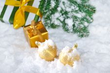 Free Golden Christmas On Snow Royalty Free Stock Image - 27882826